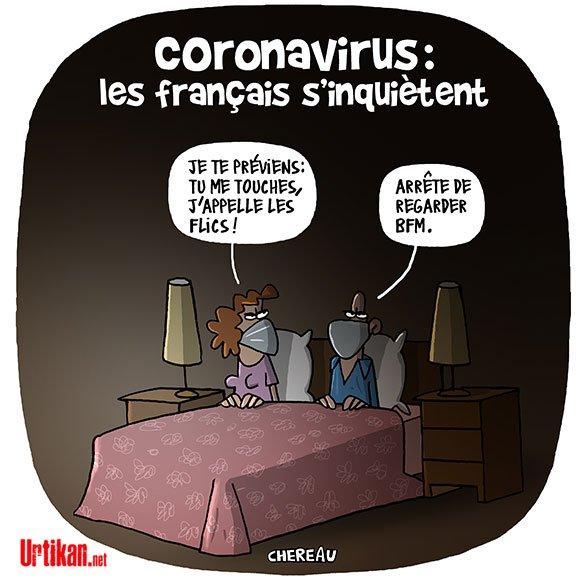 CORONAVIRUS COUPLE AU LIT